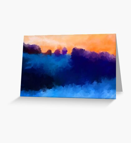 Ice, Mauve and Marmalade Abstract Landscape Greeting Card