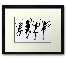 Four abstract dancers, ink painting with enhanced contrast. Framed Print