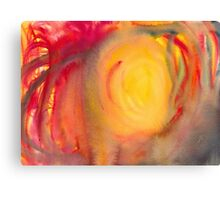 Abstract watercolor painting - sun and red flames Canvas Print