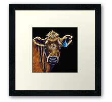Lucky Number Seven Cow Painting Framed Print