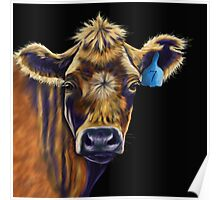 Lucky Number Seven Cow Painting Poster