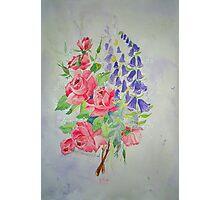 Roses and Digitalis Photographic Print