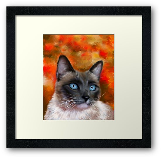 Fire and Ice Siamese Cat Painting by Michelle Wrighton