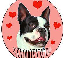 Boston Terrier Hugs and Kisses by IowaArtist