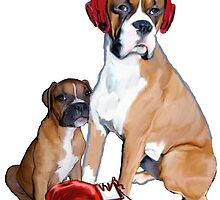 Boxer Mom and Puppy with Boxing Equipment by IowaArtist