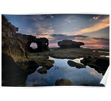 Eroded Sandstone Sunset Poster