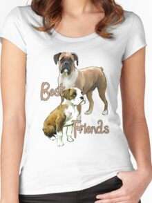 Boxers Best Friends Women's Fitted Scoop T-Shirt