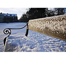Snow-Covered Park Bench Photographic Print