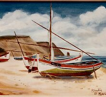 Fishing boats Algarve after Van Gogh by Woodie