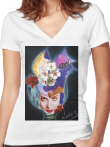 Tulip on the wind Women's Fitted V-Neck T-Shirt