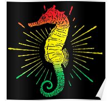 Seahorse with Reggae Music Flag Colors! Poster