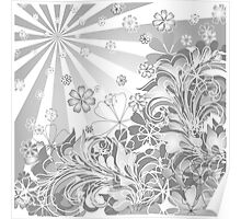 monochrome flowers Poster