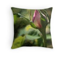 Rosebud In Colored Pencil ll Throw Pillow