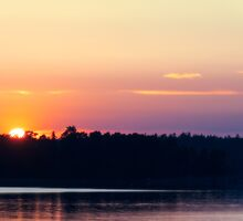 Scandinavia, sunset on sea and tranquil evening by JH-Image