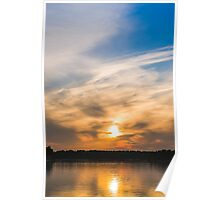 Scandinavia, sunset on sea and tranquil evening Poster