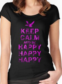 Keep Calm and be Happy Happy Happy (Pink Camo) Women's Fitted Scoop T-Shirt