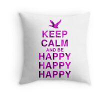 Keep Calm and be Happy Happy Happy (Pink Camo) Throw Pillow
