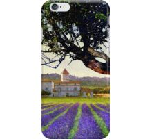 lavender fields and chalet at sunset iPhone Case/Skin