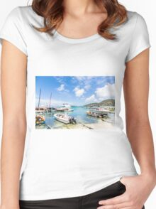 Boats in Tropical Harbor.jpg Women's Fitted Scoop T-Shirt