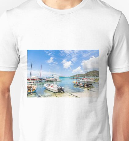 Boats in Tropical Harbor.jpg Unisex T-Shirt