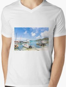 Boats in Tropical Harbor.jpg Mens V-Neck T-Shirt