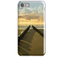 Breakwaters on the beach at sunset in Domburg Holland  iPhone Case/Skin