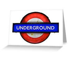 Isolated Grungy London Underground Sign Greeting Card