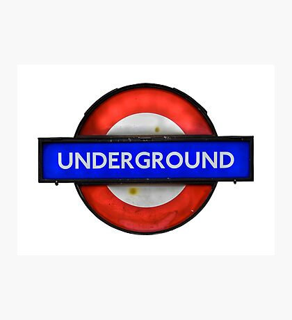 Isolated Grungy London Underground Sign Photographic Print
