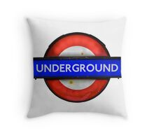 Isolated Grungy London Underground Sign Throw Pillow