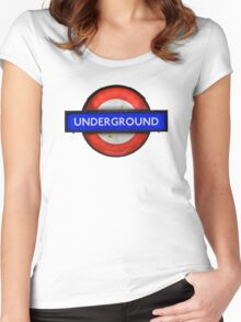 Isolated Grungy London Underground Sign Women's Fitted Scoop T-Shirt