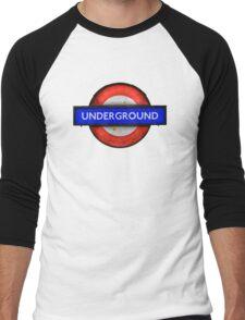 Isolated Grungy London Underground Sign Men's Baseball ¾ T-Shirt