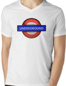 Isolated Grungy London Underground Sign Mens V-Neck T-Shirt