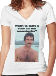 Selleck Moustache Ride Women's Fitted V-Neck T-Shirt