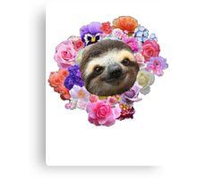 Floral Sloth Canvas Print