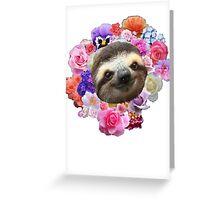 Floral Sloth Greeting Card