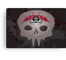Lucky 13 Grunge Skull Canvas Print