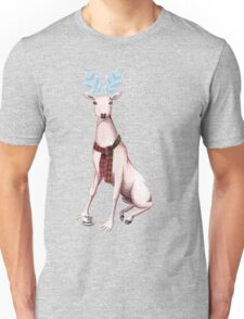 Surreal Winter Deer Watercolor and Ballpoint Pen Painting Unisex T-Shirt