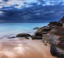 Stunning Tamarama beach and coastal rocks before sunrise by Leah-Anne Thompson