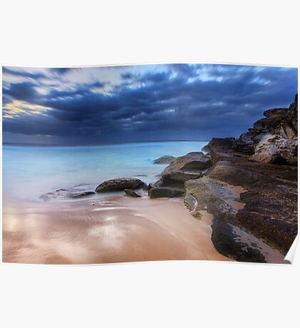 Stunning Tamarama beach and coastal rocks before sunrise Poster
