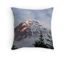 """Sunset on Rainier"" Throw Pillow"