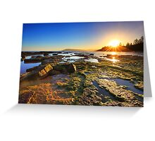 Golden Sunrays stretch across the reefs at sunset Greeting Card