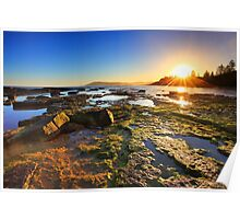 Golden Sunrays stretch across the reefs at sunset Poster