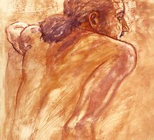 Male nude, portrait in gouache by Roz McQuillan