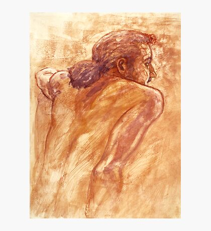 Male nude, portrait in gouache Photographic Print