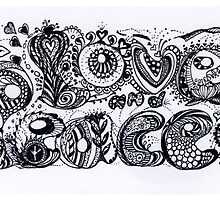 Zentagle Love and Peace in Black and White  by Heatherian