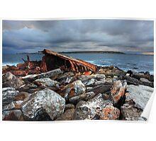 Storm over SS Minmi shipwreck at Sydney seascape landscape Poster
