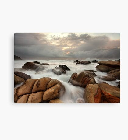 Surging ocean over rocks at Forresters Beach Australia seascape landscape Canvas Print