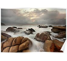 Surging ocean over rocks at Forresters Beach Australia seascape landscape Poster