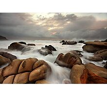 Surging ocean over rocks at Forresters Beach Australia seascape landscape Photographic Print