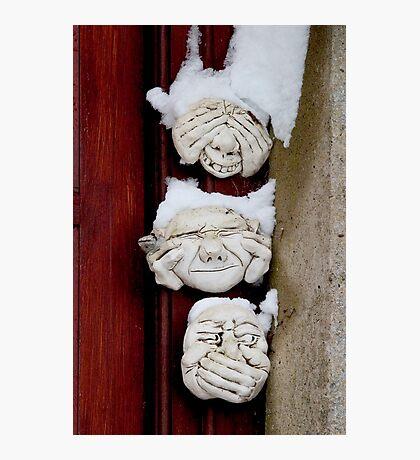 See no evil, hear no evil, speak no evil & Snow Photographic Print